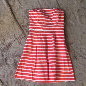 Gap orange white strapless dress size 0